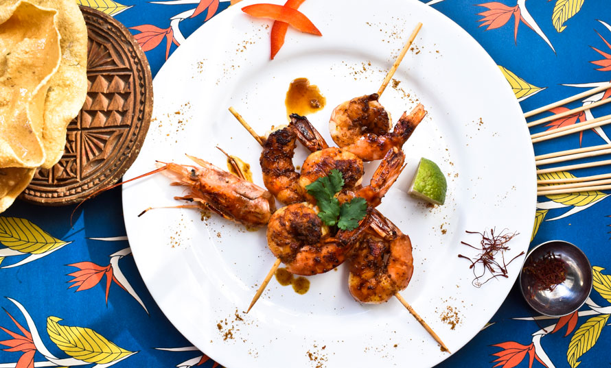 Lime Shrimp Skewers with Melefsis Curry & Saffron Infused Honey Sauce